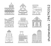 set of buildings icons | Shutterstock .eps vector #296792312