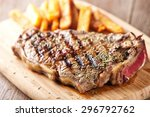 grilled beefsteak with french... | Shutterstock . vector #296792762