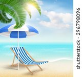 beach with palm clouds sun... | Shutterstock . vector #296798096