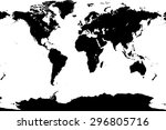 world map black vector flat... | Shutterstock .eps vector #296805716