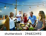 diverse summer party rooftop... | Shutterstock . vector #296822492