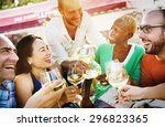 diverse people friends hanging... | Shutterstock . vector #296823365