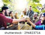 diverse people friends hanging... | Shutterstock . vector #296823716