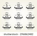 vector set of anniversary signs ... | Shutterstock .eps vector #296862482