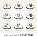vector set of anniversary signs ... | Shutterstock .eps vector #296862482