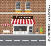 Ice Cream Parlor Facade With...