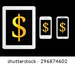 white mobile devices with... | Shutterstock . vector #296874602