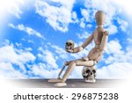 Handicap Wooden Figure Sitting...