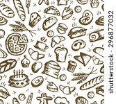 bakery seamless pattern  sketch ... | Shutterstock .eps vector #296877032