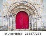 Very Old Red Church Door In...