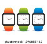 colorful set of smart watches  | Shutterstock .eps vector #296888462