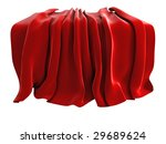 Illustration of a velvet drape, isolated on a white background. Could be used to represent unveiling of a new product etc - stock photo