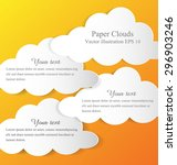 floating white paper clouds on... | Shutterstock .eps vector #296903246