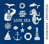 sea icons cartoon set with... | Shutterstock .eps vector #296915216