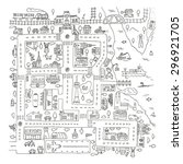 doodle city map. isolated. | Shutterstock .eps vector #296921705