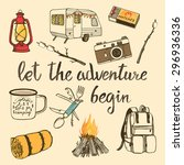 hand drawn camping set with... | Shutterstock .eps vector #296936336