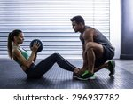 side view of a muscular couple... | Shutterstock . vector #296937782
