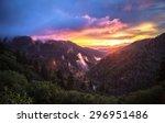 smoky mountain sunset. the... | Shutterstock . vector #296951486
