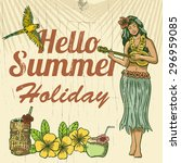 hello summer holiday wooden... | Shutterstock .eps vector #296959085