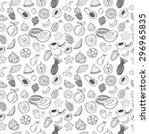 hand drawn fruits seamless... | Shutterstock .eps vector #296965835