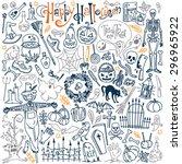 halloween themed doodle set.... | Shutterstock .eps vector #296965922