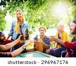 friend celebrate party picnic... | Shutterstock . vector #296967176