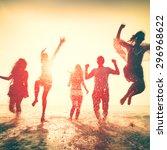 friendship freedom beach summer ... | Shutterstock . vector #296968622