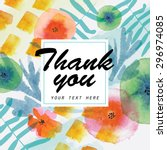 thank you card decorated with... | Shutterstock .eps vector #296974085