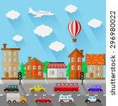 city landscape. flat design....   Shutterstock .eps vector #296980022