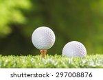 golf ball on a tee peg and golf ... | Shutterstock . vector #297008876