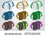 long sleeve blank two colored t ... | Shutterstock .eps vector #297010445