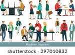 group of modern people working... | Shutterstock .eps vector #297010832