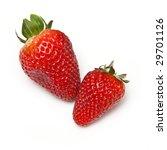 strawberries on a white studio background - stock photo