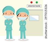 surgeons. surgeons in scrubs...   Shutterstock .eps vector #297015326