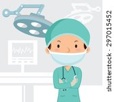 male surgeon in the operation... | Shutterstock .eps vector #297015452