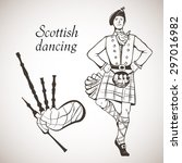 sketch of scottish dancer and... | Shutterstock .eps vector #297016982