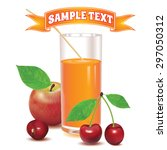 glass for juice from ripe red... | Shutterstock .eps vector #297050312