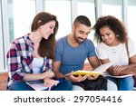 students sharing notes in the... | Shutterstock . vector #297054416