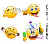 4 emoji smiley faces | Shutterstock .eps vector #297056396