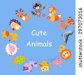 cute animals walking around... | Shutterstock .eps vector #297073016