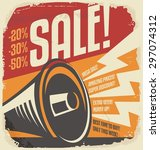 retro sale poster design... | Shutterstock .eps vector #297074312