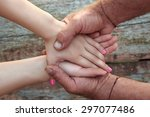 two pairs of hand touch each... | Shutterstock . vector #297077486