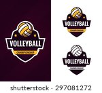 set of  colorful volleyball... | Shutterstock .eps vector #297081272