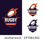 set of  colorful rugby logo...