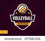 colorful volleyball logo label. ... | Shutterstock .eps vector #297081326