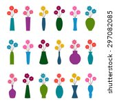 set of vases with flowers ... | Shutterstock .eps vector #297082085