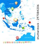 southeast asia   map and... | Shutterstock .eps vector #297084206