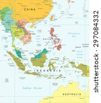 southeast asia map   highly... | Shutterstock .eps vector #297084332