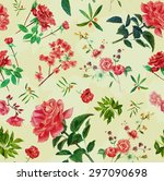 vintage style watercolour roses ... | Shutterstock . vector #297090698