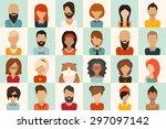 big icons set. 12 women  11 men ... | Shutterstock .eps vector #297097142